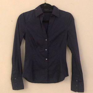 BCBG MaxAzria button down navy shirt XS